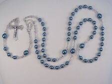 """Womens Blue Rosary Cath 20"""" Petrol Blue Czech Glass Pearls Las Mujeres Rosario"""