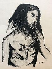 Expressionnisme encre sur papier homme signée Jungo 2è moitié XXe