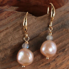 Natural Pink pearl moonstone Earring 18KGP Dangle Holiday gifts Mesmerizing