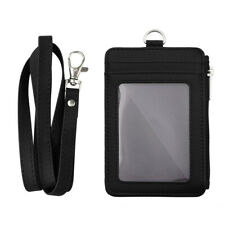 TOPTIE Badge Holder Leather ID Card Holder with 5 Card Slots, Pocket and Lanyard