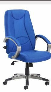 Brand New Luca High Back Blue Fabric Executive Office Chair Lumber Adjustment