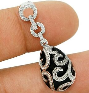 Black Onyx & White Topaz 925 Solid Sterling Silver Pendant Jewelry VN1