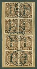 Coiling dragon stamp 1/2c statistical roc op. two block of 4 cip Chan 152 china