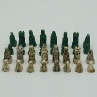 Unique Antique Mayan/Aztec Jade and Marble Hand Carved Miniature Chess Pieces