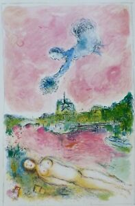 MARC CHAGALL Vue sur Notre Dame 1981 Limited Edition LITHOGRAPH Poster