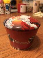 Vintage Candy Tin. Holiday Season Santa. Red.