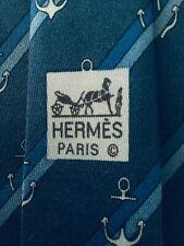 HERMES VERY Vintage Rare Hommes Cravate en soie rayures Ancres fond bleu 944 IA