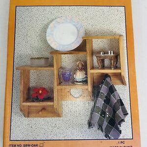 Vintage Solid Wood 3 Tier Shadow Box Oak Shelf New in Box