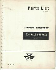 Massey Ferguson 724 Kale Cut Rake Parts List 1960 A29 28.3.60 7424F