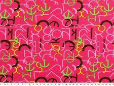 Baumwolljersey, Buchstaben, mehrfarbig auf fuchsia, 150cm