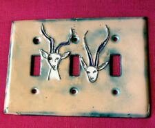 Impala or Thompson Gazelle Antelope Enamel Light 3 Switch Plate Cover