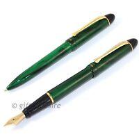 REYNOLDS Accent Marbled Green GT Fountain Pen & Ball Pen Set