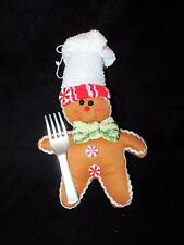 Stuffed Gingerbread Man Chef with Fork Christmas Ornament