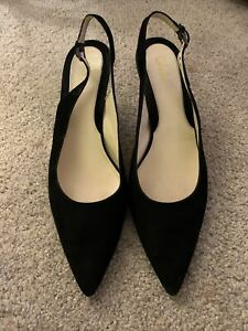 Cole Haan Womens Black Suede Slingback Shoes Women's 11B EUC