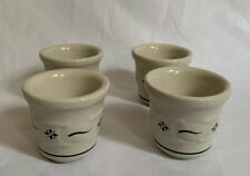 4 Longaberger Pottery Traditional Green Votives Candle Holders Cups Ramekins