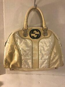 Authentic Gucci Dialux Snow Glam Cream Satchel Distressed Large ID: 181523203998