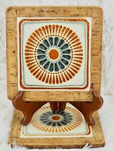 "Vintage Cork Backed Ceramic Mandala Art Tile Trivet Orange Blue 7.5"" Square PAIR"