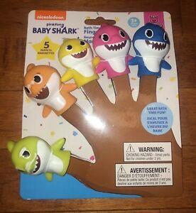 5 Pinkfong Baby Shark Finger Puppets Bath Toys New