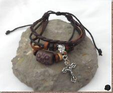Bracelet Porte Bonheur Style Surfeur Multirangs Cuir Chanvre Perle Bois Crucifix