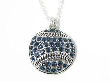 Baseball Softball Navy Blue Crystal Pendant Fashion Silver Necklace Jewelry