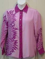 Bob Mackie Paradise Palm Printed Blouse Size S Pink