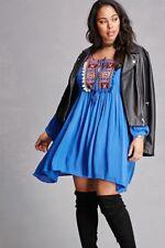 NWT VELZERA Royal Blue Embroidered Pom Pom Dress Tunic Size 2XL