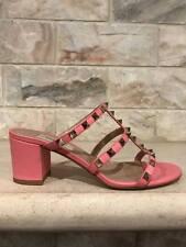 NIB Valentino Rockstud City Pink Leather Mule Block Heel Slide Pump Sandal 41