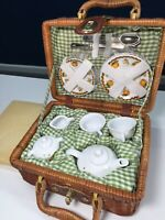 Delton Ceramic Mini Kids Tea Set Wicker Picnic Basket Carrying Case Fall theme