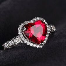 White gold finish red ruby created diamond heart ring size Q free postage gift