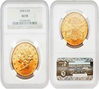 USA 1898S LIBERTY $20 Gold NGC AU58