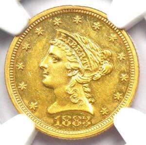 1883 Liberty Gold Quarter Eagle $2.50 - NGC AU Details - Rare Date Coin!