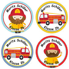 24 individuelle Aufkleber Schule – mit Feuerwehr Motiv für Schulkinder - PAPI...
