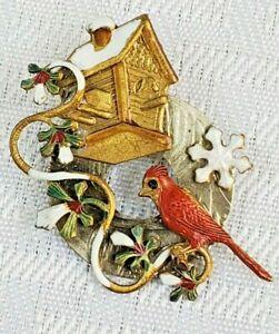 Cardinal Brooch Pin Gold/Silver Wreath Garland Red Berry Snow Birdhouse Winter