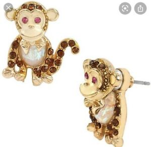 $40 Betsey Johnson Minis Monkey Earrings Ab 501