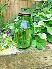 Large Green glass Kilner Jar, Vintage 4L, metal clip top lid, swiss made, vvgc