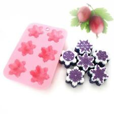 Cake Mold 6-Snowflake Snow Soap Flexible Silicone Mould For Candy Chocolate LA