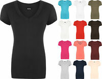 New Ladies V Neck Short Sleeve Top Plus Size Womens Stretch Plain T-shirt 16- 20
