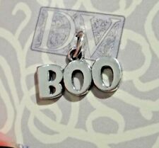 Sterling Silver 18x15mm Halloween says Boo Charm! Cute!!