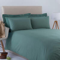 Charlotte Thomas Poetry Dark Green Plain Dyed Bedding Duvet Cover Pillowcase Set