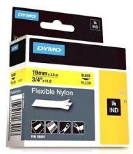 NEWELL (19mm) Flexible nailon cinta (NEGRO AMARILLO) para Rinoceronte Etiquetas