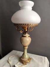 Vintage Lampe De Table , Bureau Ou Salon En Albâtre Bronze Laiton Et Opaline