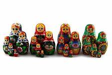 Lot 4 Matryoshkas Russian Nesting Doll Wooden Puppe Poupee Babushka Gift 5 pcs