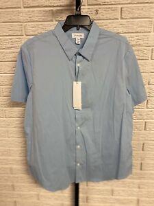 Calvin Klein mens SHIRT designer stretch dress blue cotton LARGE NEW $69.50 #142