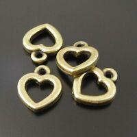 Antiqued Bronze Lovely Hollow Love Tiny Heart Alloy Charm Pendant 100pcs 10x8mm