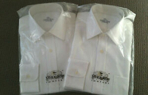 NEW - THE SAVILE ROW COMPANY - WHITE L/S BUSINESS SHIRTS x 2 - 15.5in/39CM - S/C