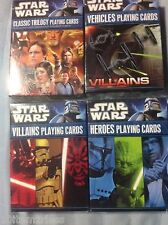 NEW  2011 STAR WARS PLAYING CARDS: TRILOGY, VILLAINS, HEROES & Vehicles ~4 DECKS
