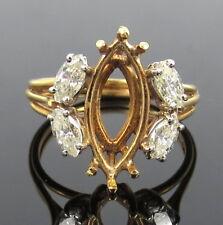Vintage 0.80ct Marquise Diamond 18K Yellow Gold Semi Mount Ring Size 6.5
