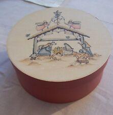 Nativity Scene On Round Wood Box - Trinket Box Gift Box