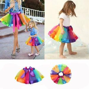Rainbow Tutu Skirt Puffy Half-length Performance Dance Dress for Cheildren Kids