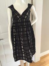 63be1908 ZARA BASIC Black Gray Silver Plaid Dress Sweetheart Neck Line Size S Small  EUC